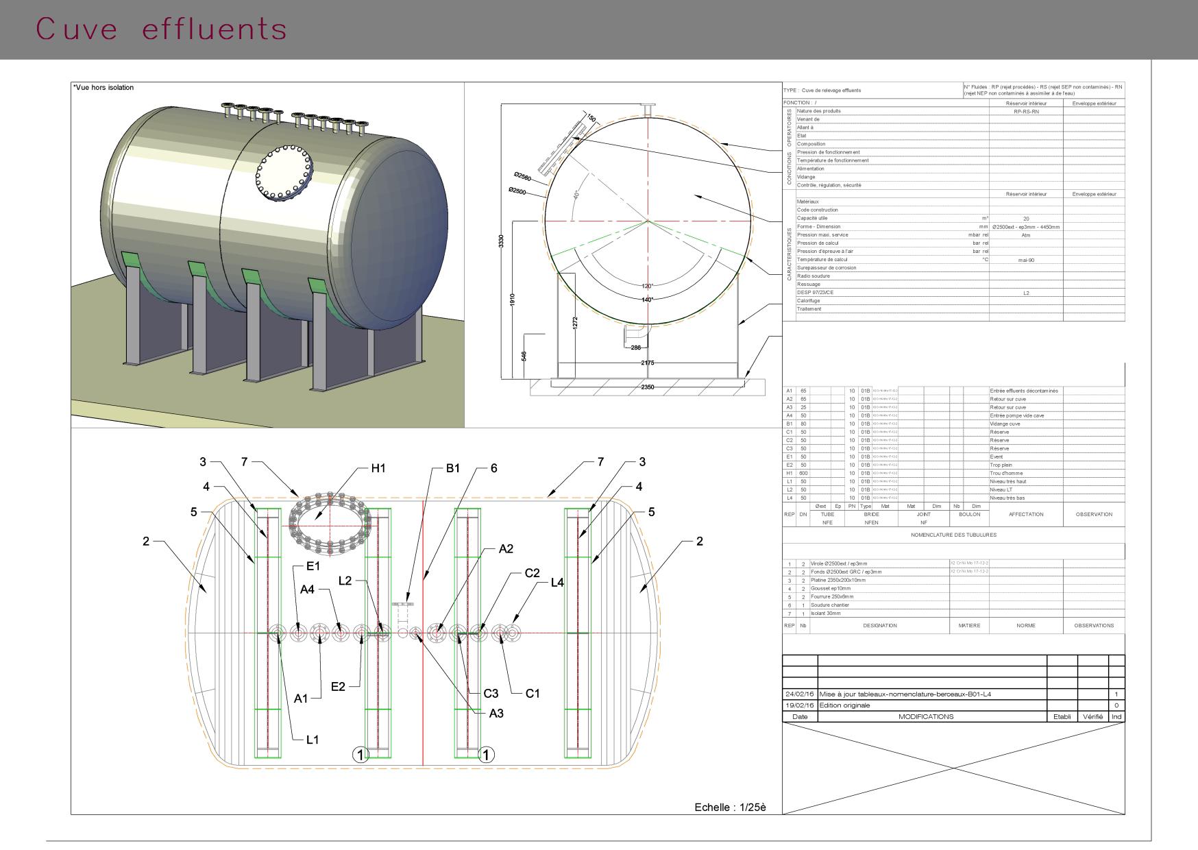 Plans et vue 3D d'une cuve effluents