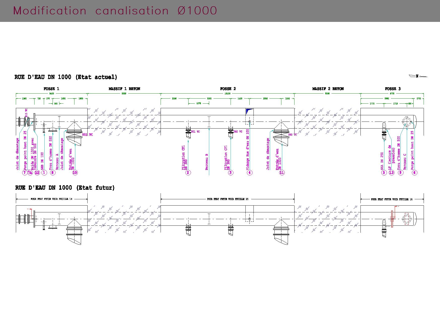Rue d'eau : plan de modification de canalisation DN1000