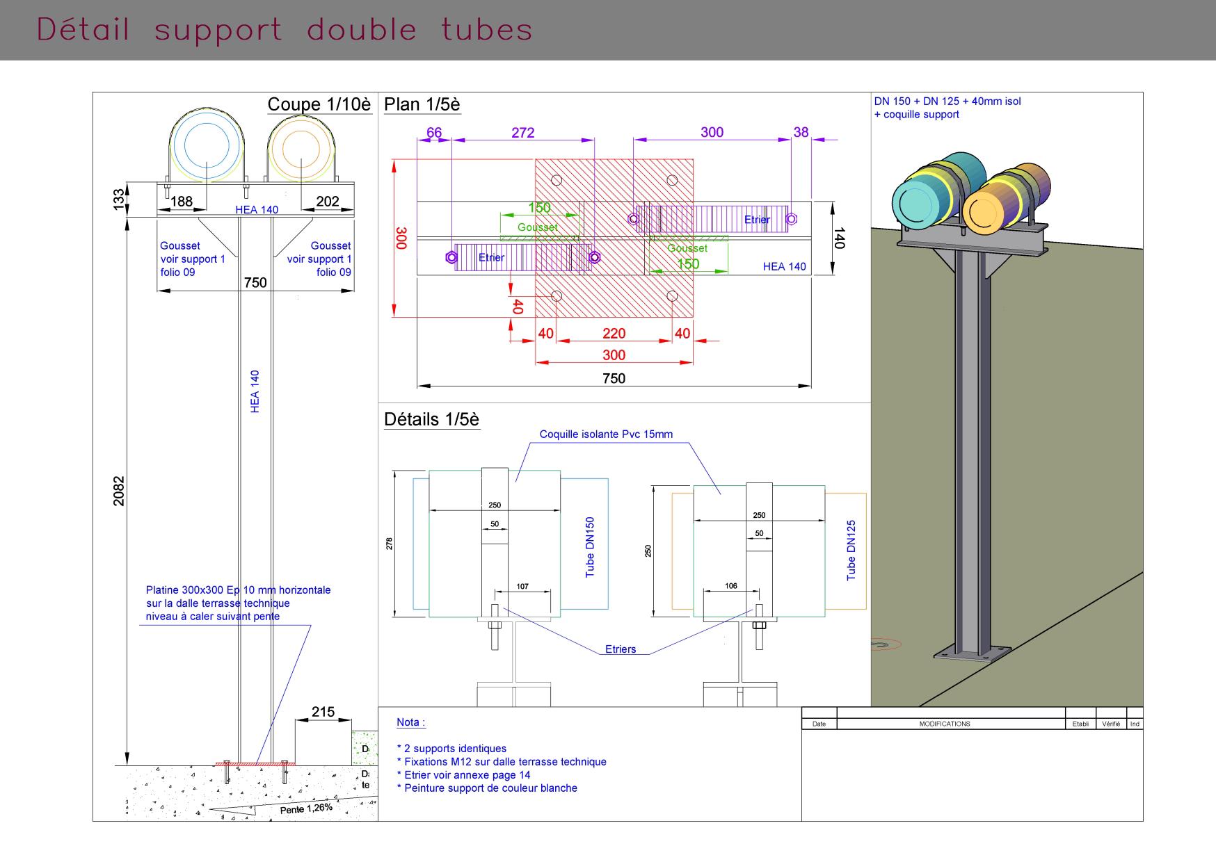 Support double tubes : plans détails et coupes