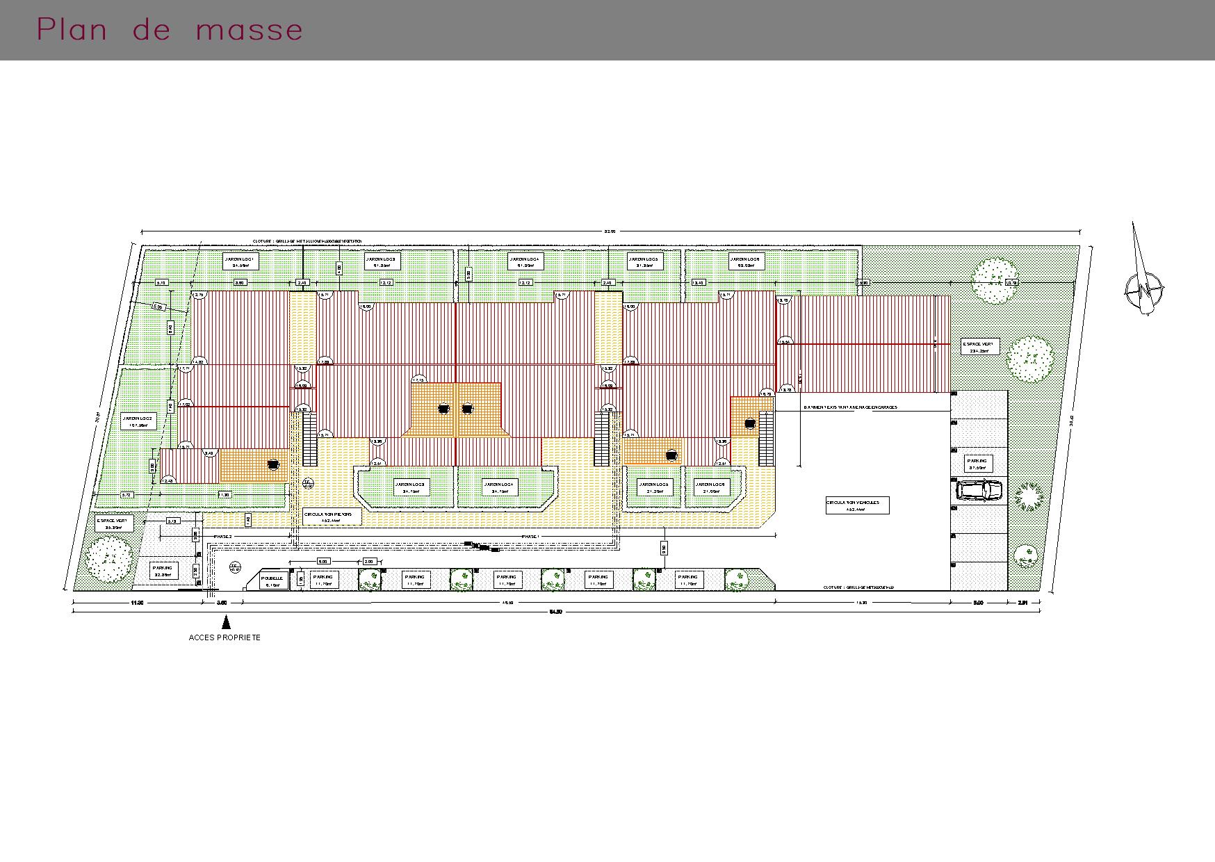 Plan de masse de l'ensemble des logements