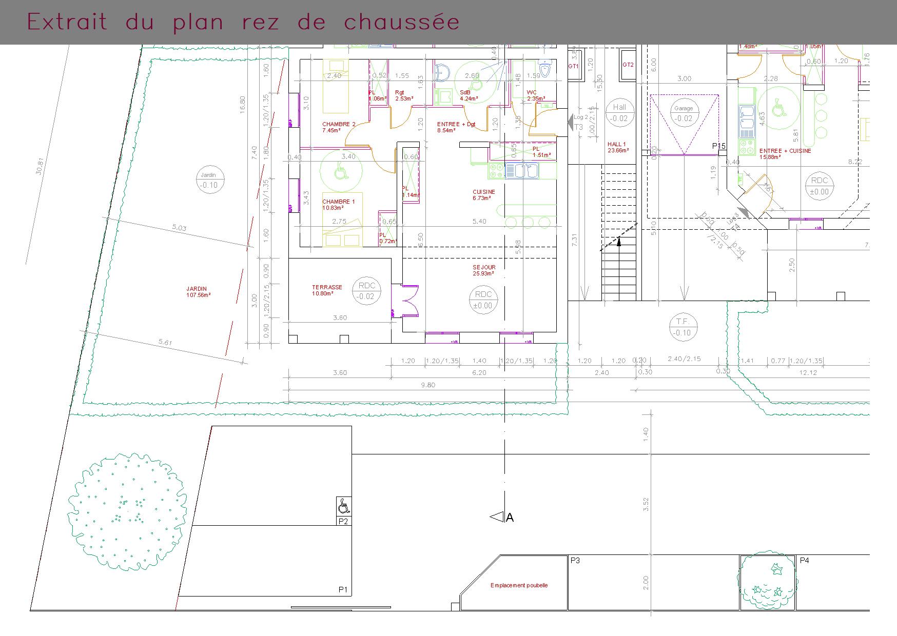 Plan d'une habitation : rez-de-chaussée