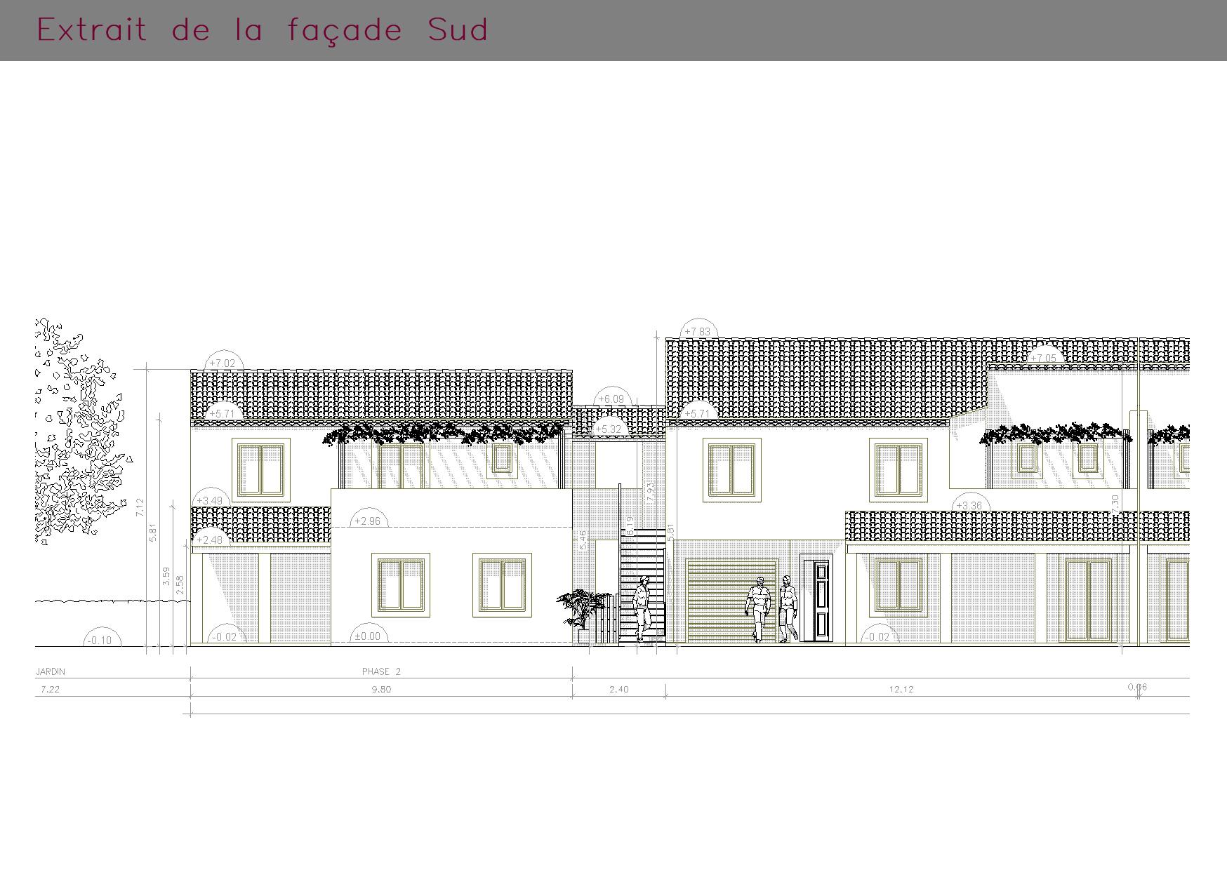 Extrait de la façade SUD des logements collectifs
