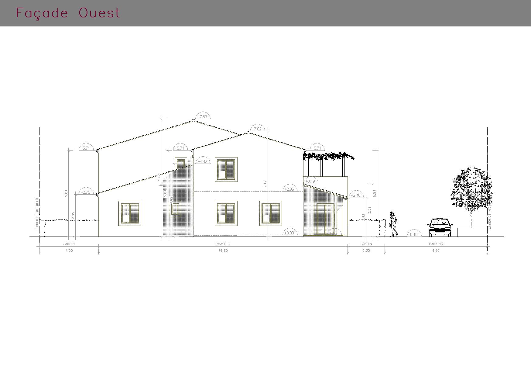 Plan de la façades OUEST de l'ensemble des habitations