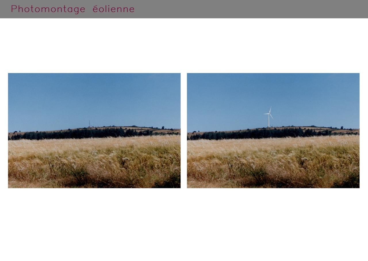 Photomontage éolienne à Freyssenet