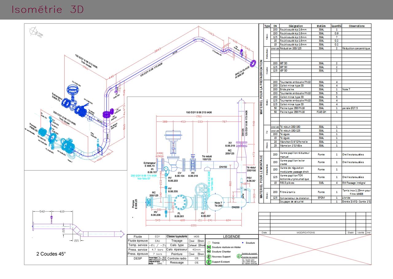 Isométrie 3D de tuyauterie industrielle