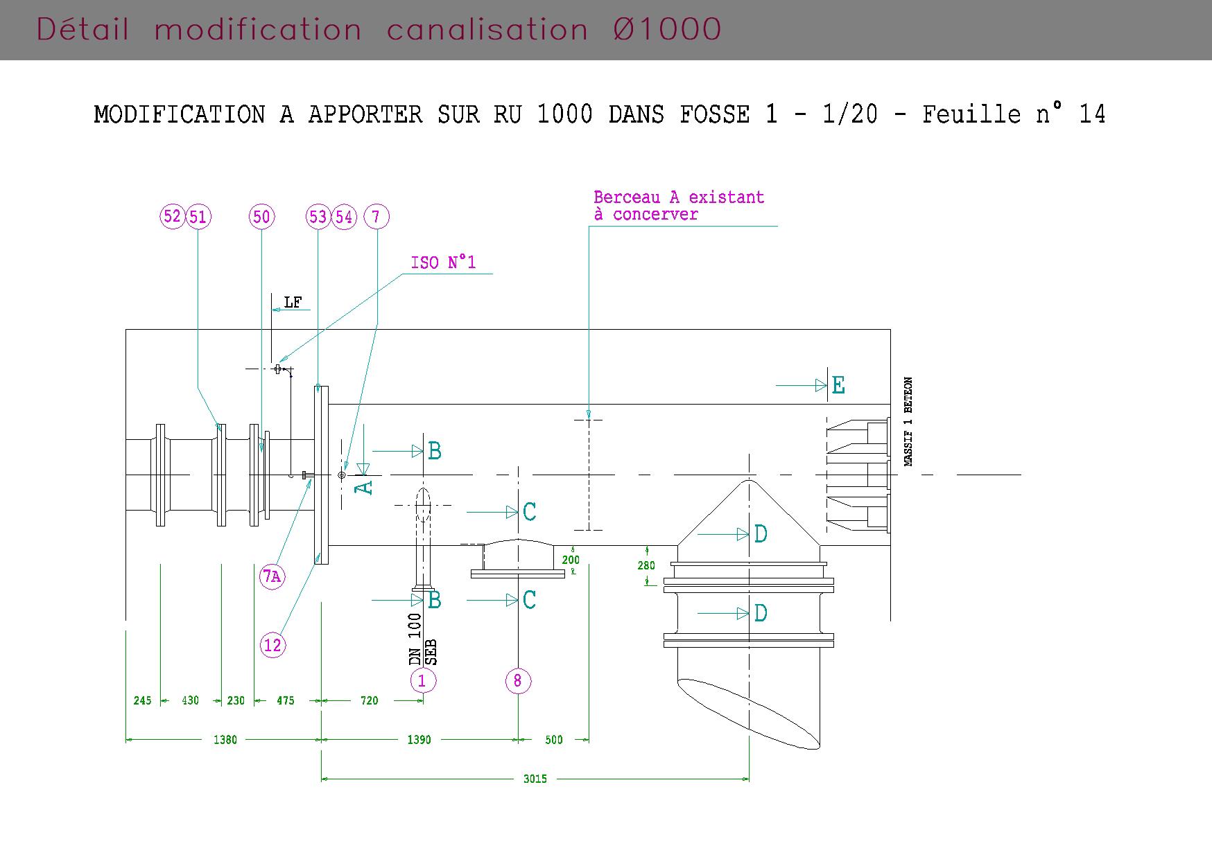 Plan de détails de canalisation industrielle
