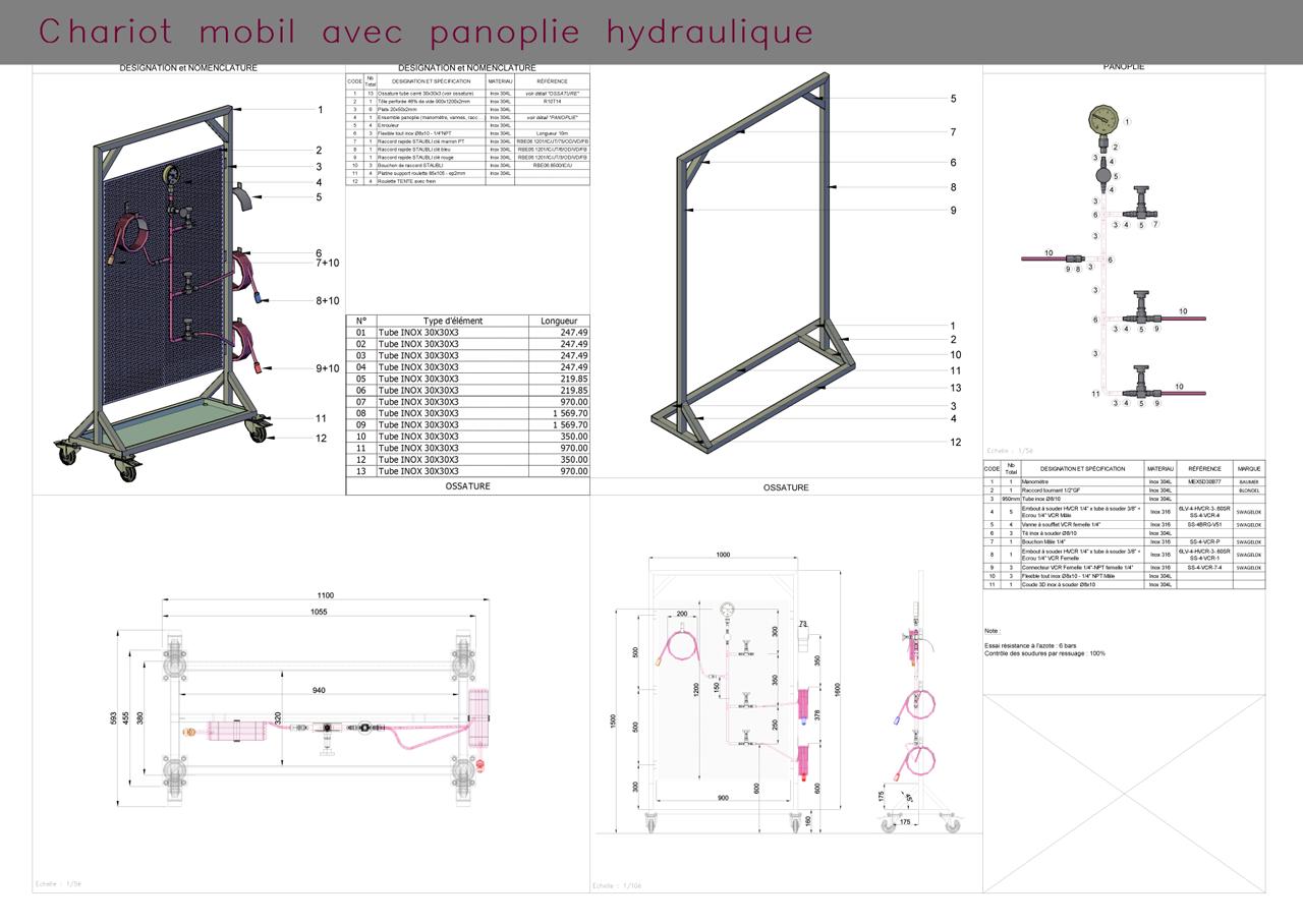 Plan de fabrication - chariot mobile avec équipement hydraulique