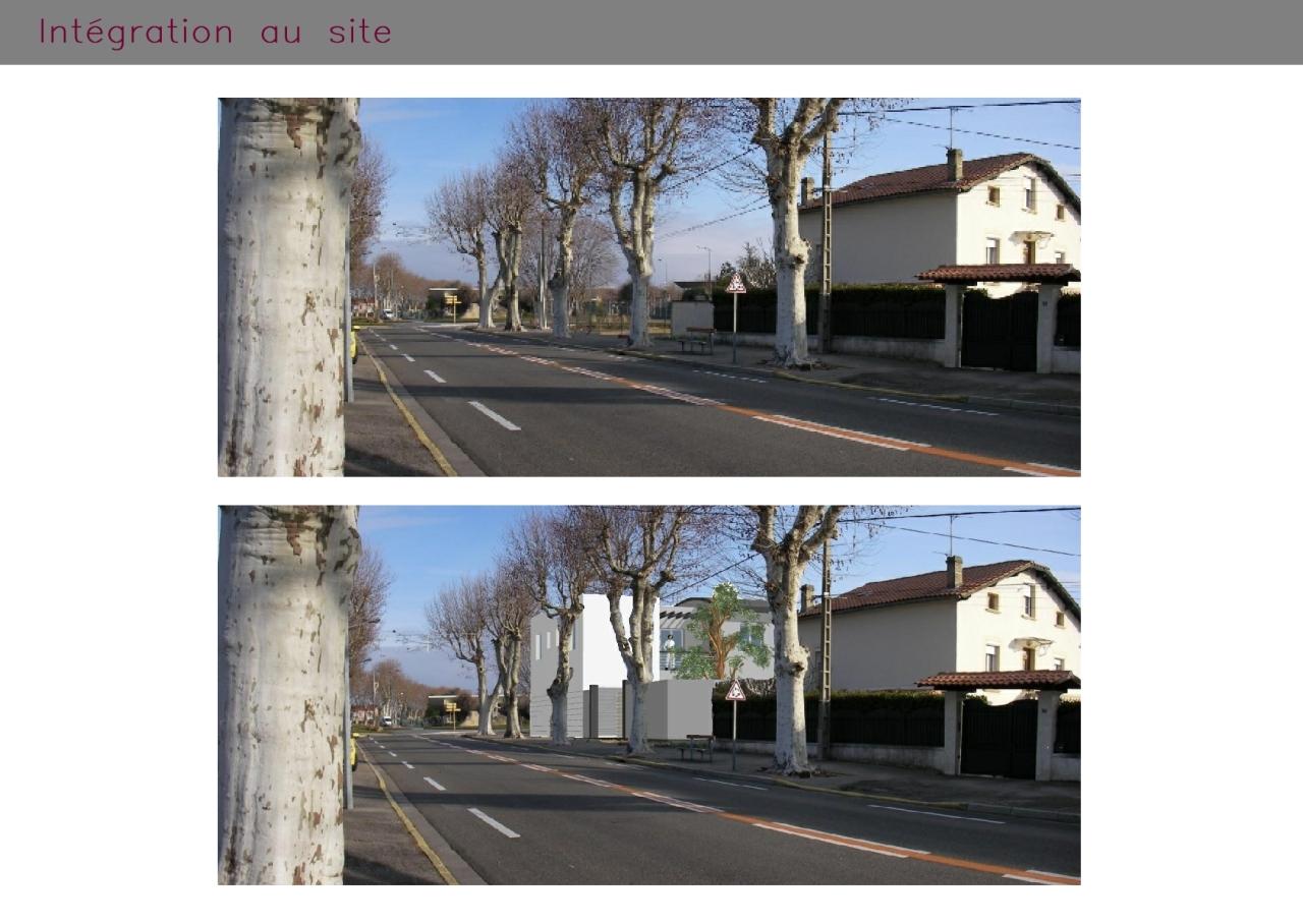 Photomontage d'habitations et commerces à Pierrelatte (Drôme)