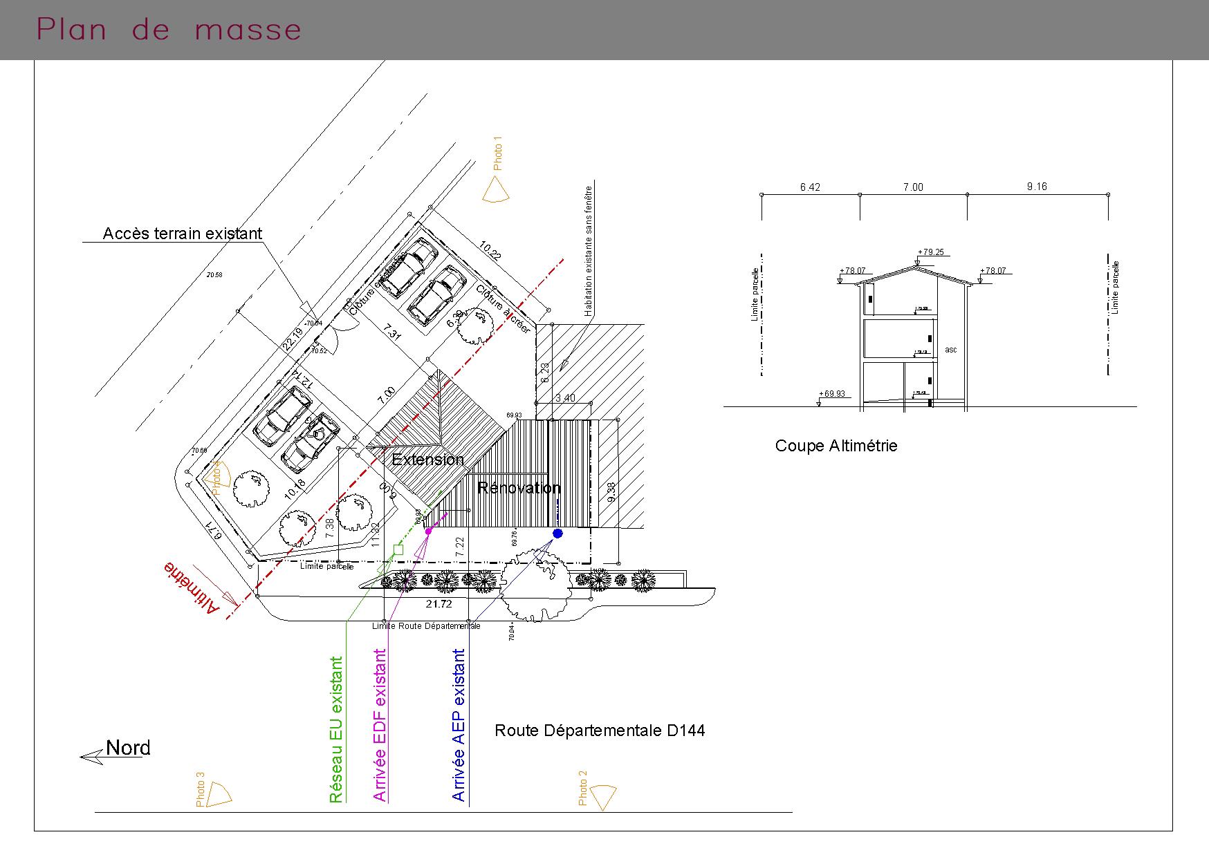 Plan de masse d'une habitation aux normes PMR