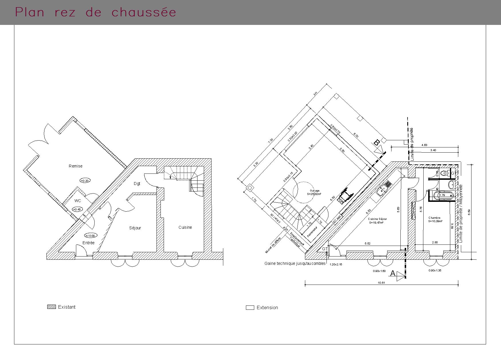 Plan du rez-de-chaussée d'une maison PMR