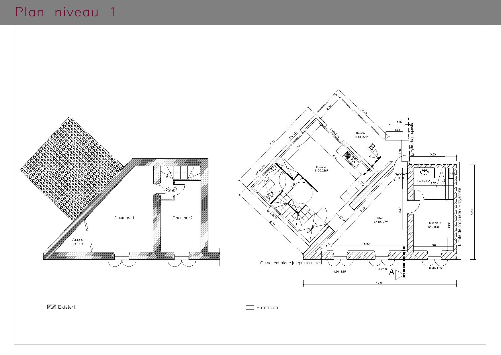 Plan du premier étage d'une villa aux normes PMR