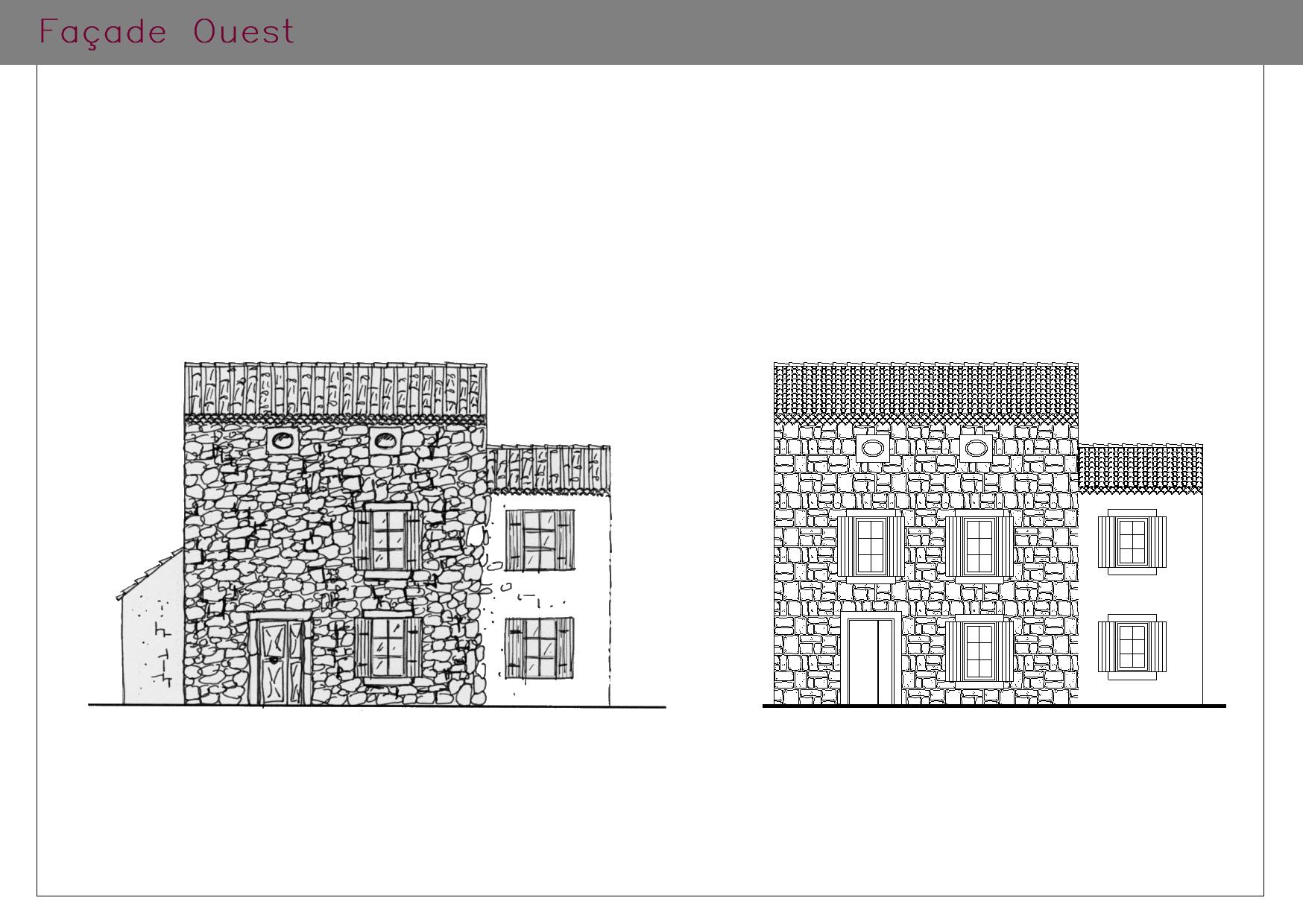 Façades OUEST d'une habitation rénovée aux normes PMR