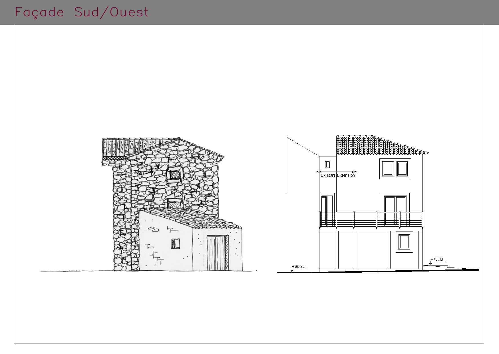 Plans des façades SUD/OUEST d'un logement aux normes PMR