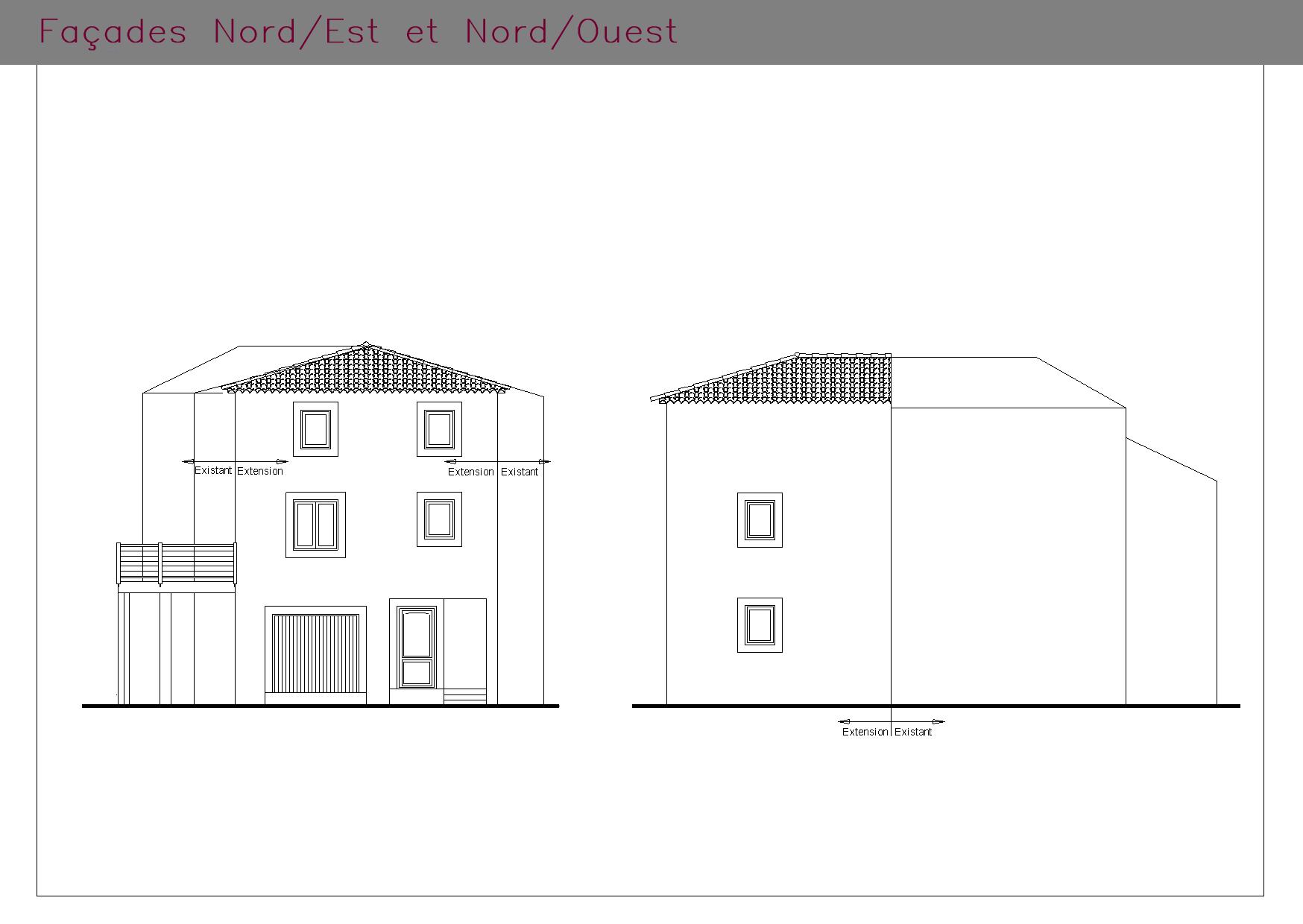 Plans des façades d'une habitation en village