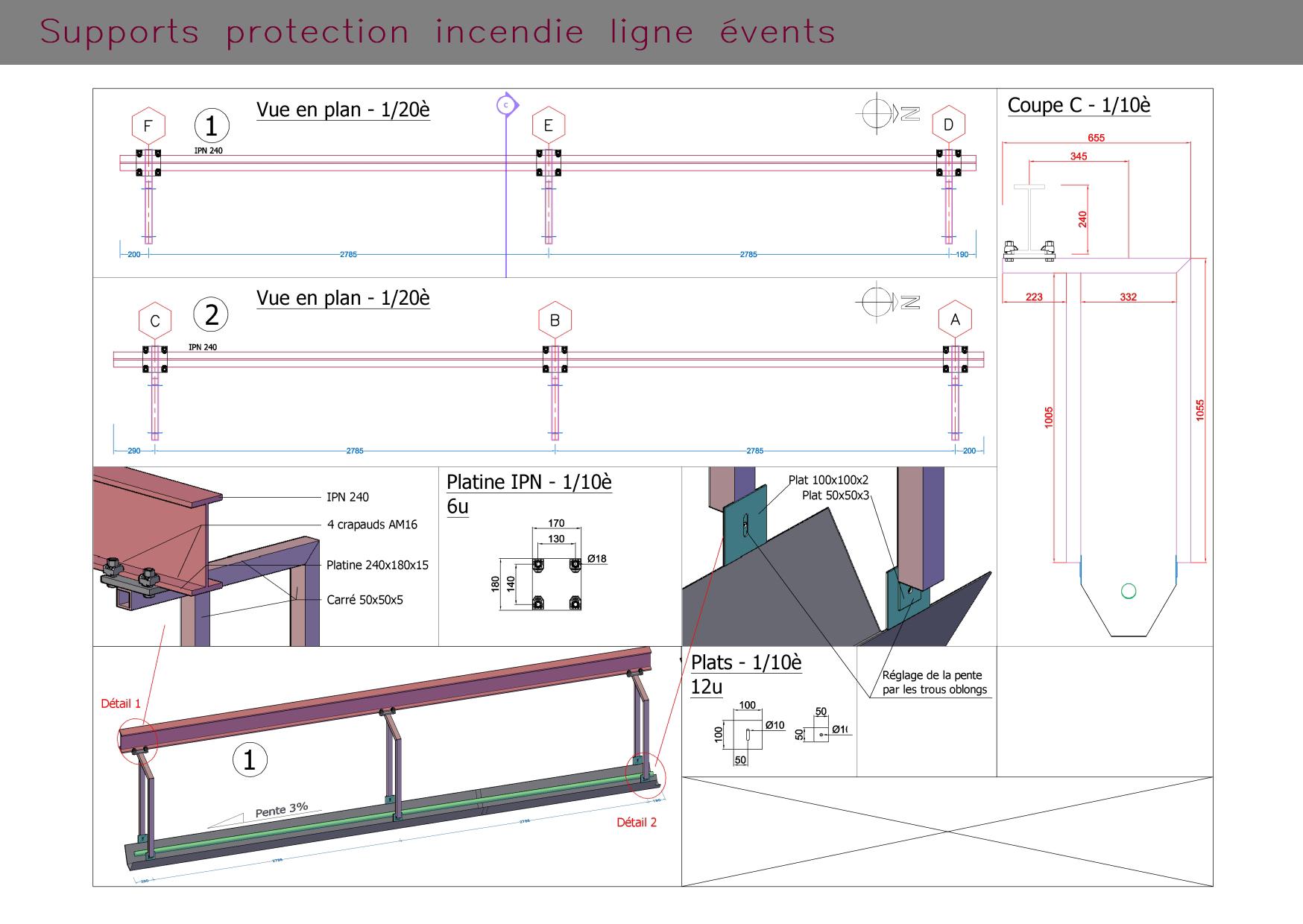 Supports protection incendie ligne évents : dessins et vue 3D