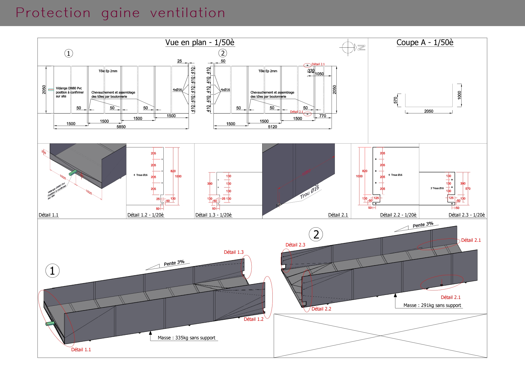 Protection gaine ventilation : plans et coupes