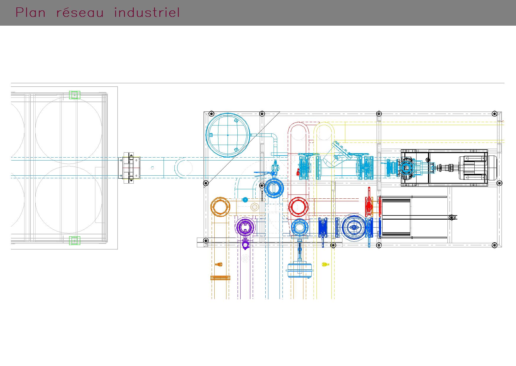 Plan réseau SKID industriel (pompe)