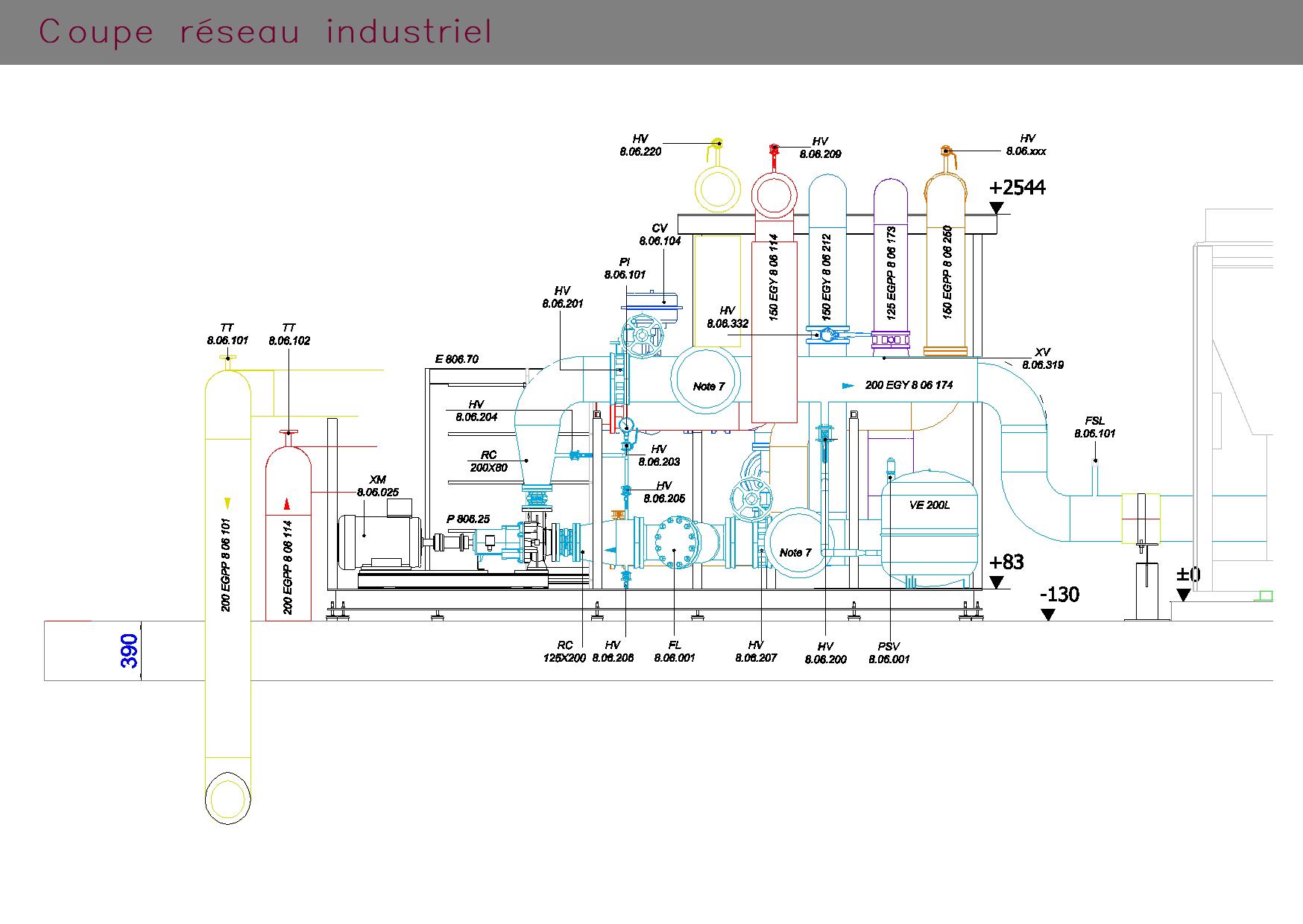 Coupe SKID réseau industriel (pompe)