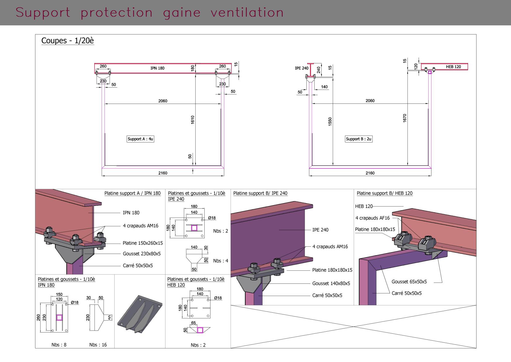 Gaine ventilation et support : aperçus 3 dimensions et coupes
