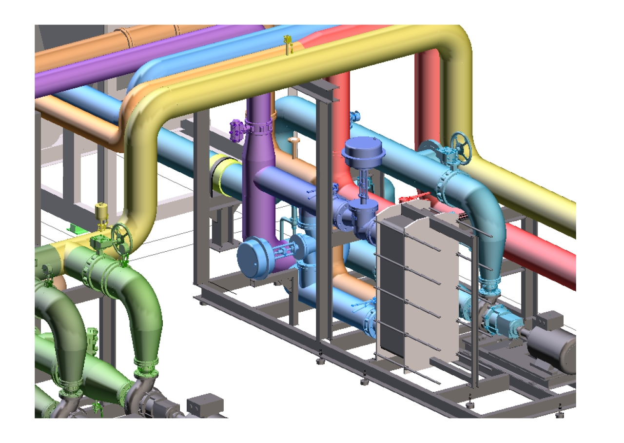 Modélisation 3D : tuyauterie industrielle