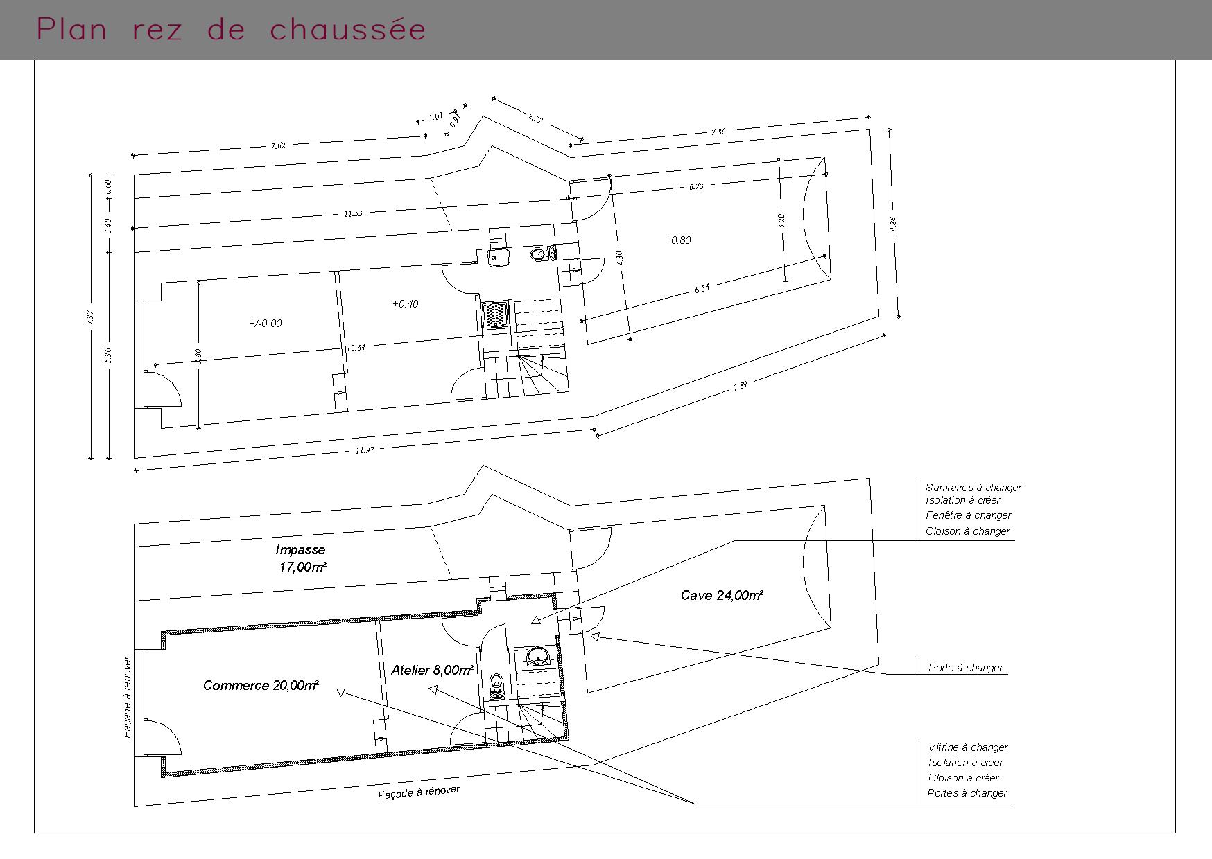 Plan du rez-de-chaussée d'un local commercial et son habitation