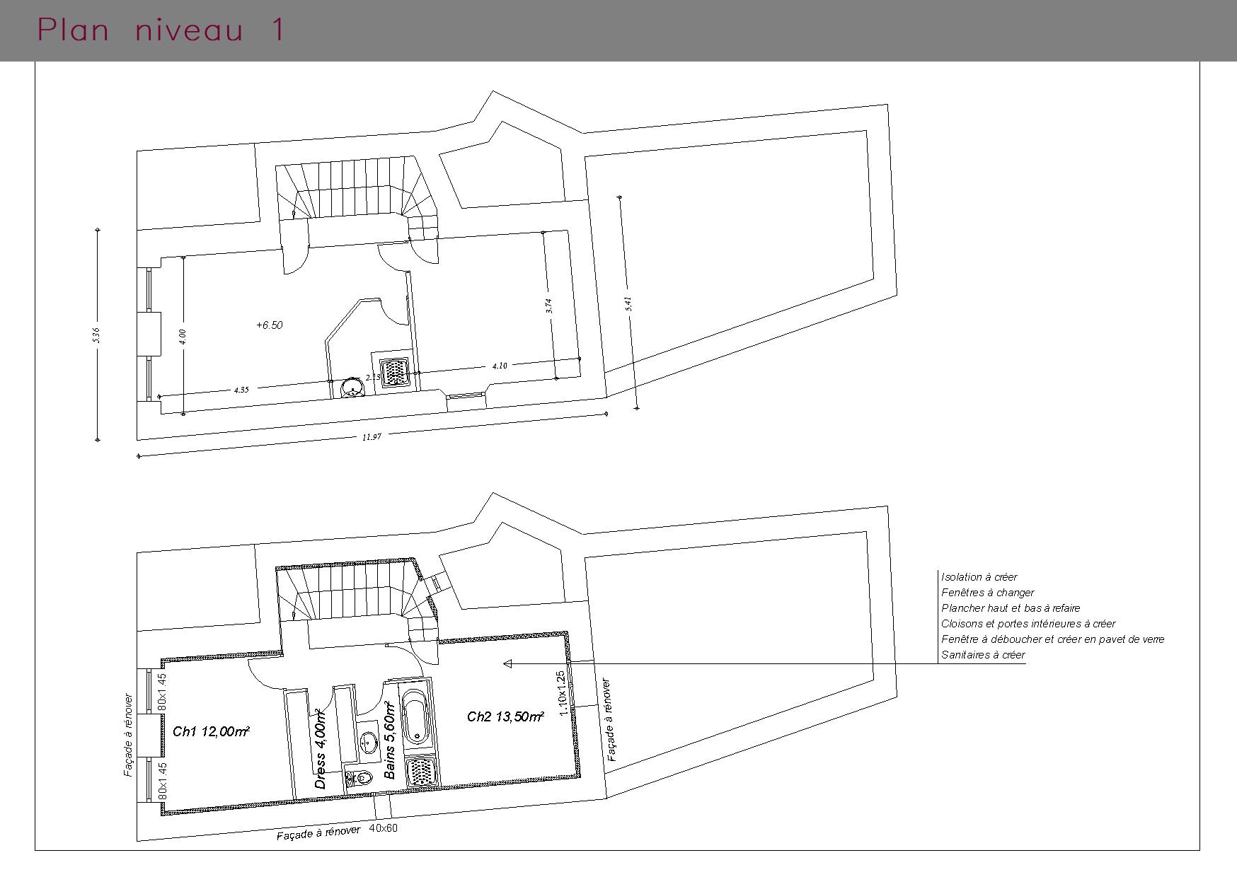 Maison et commerce : plan du premier étage