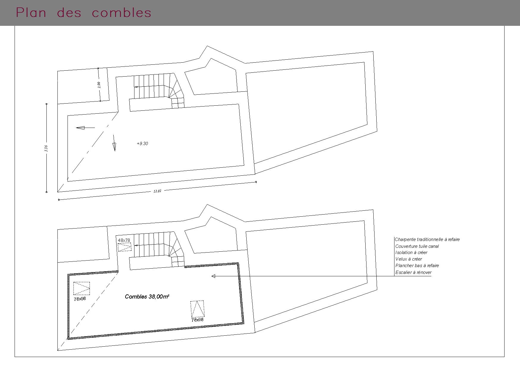 Plan des combles d'une maison de village