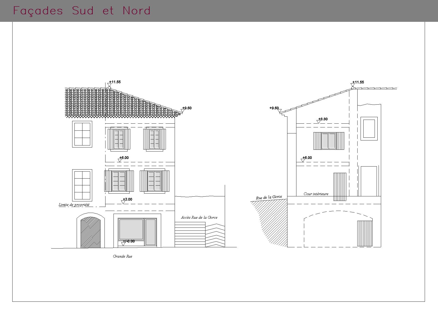 Plans des façades SUD dt NORD d'un logement et son commerce