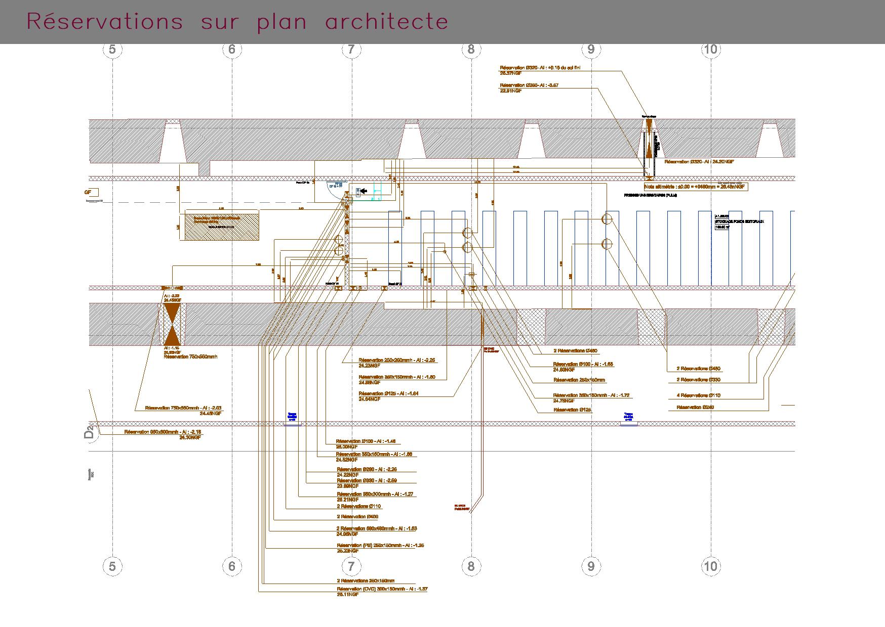 Plan de réservations basé sur un plan d'architecte