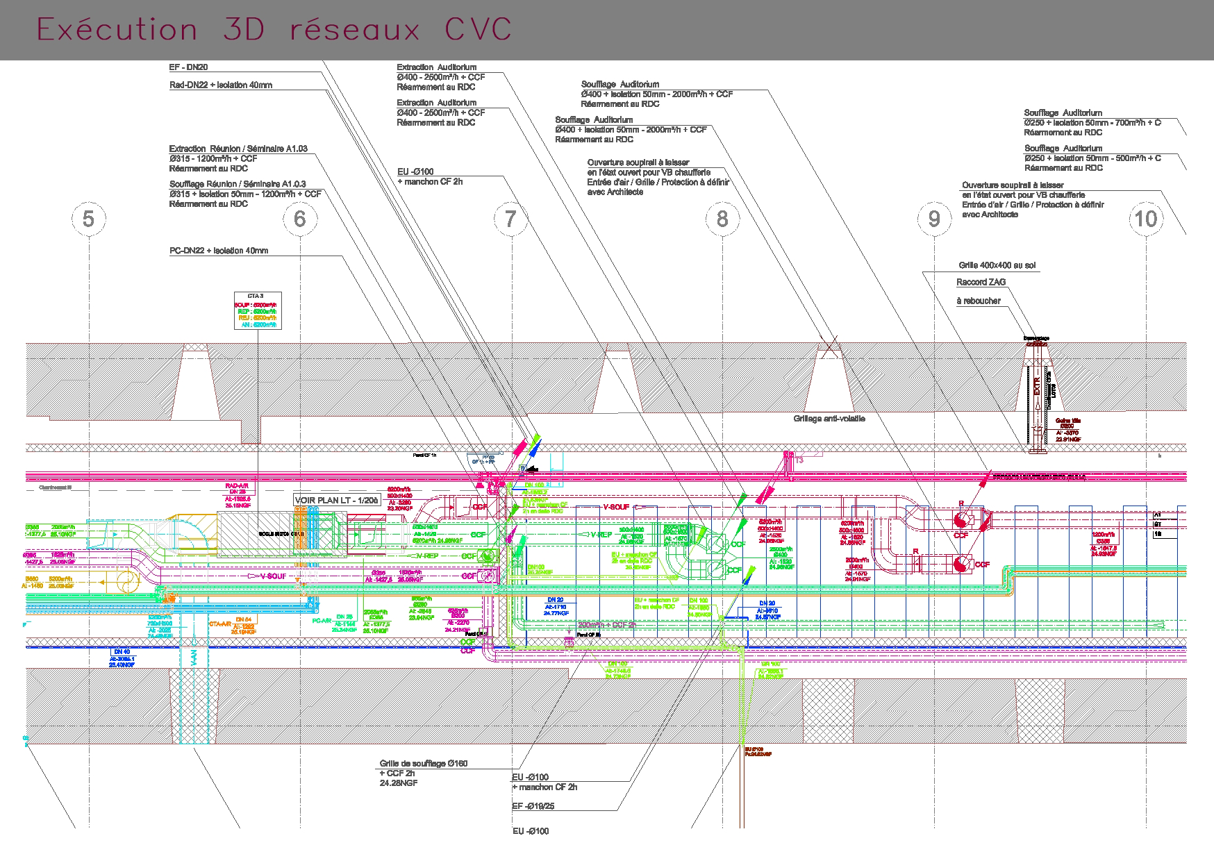 Plan d'exécution 3D de réseaux CVC