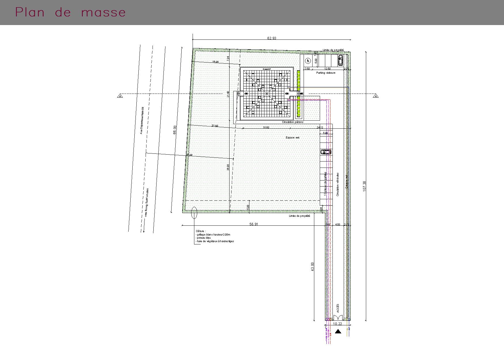 Plan de masse de bureaux