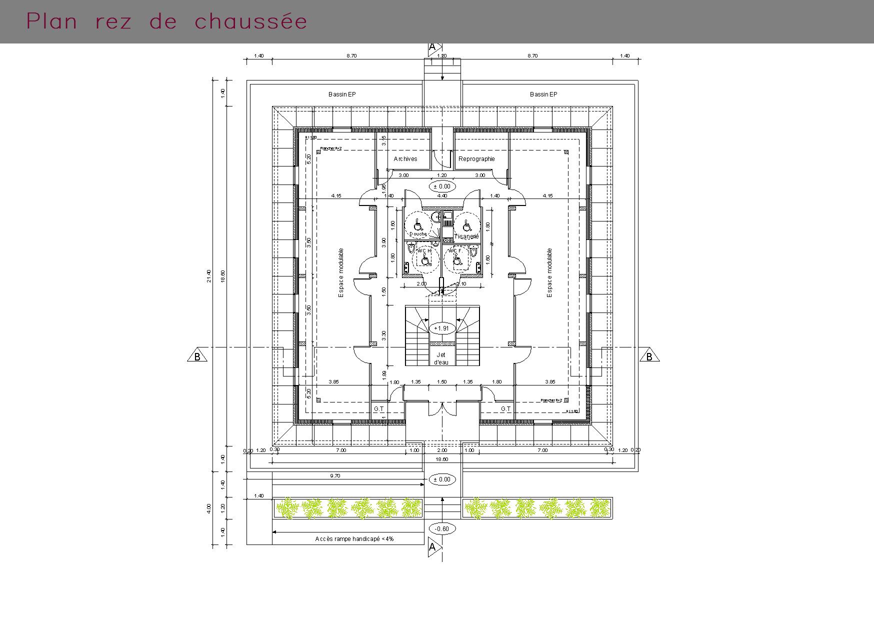Plan du rez-de-chaussée de bureaux