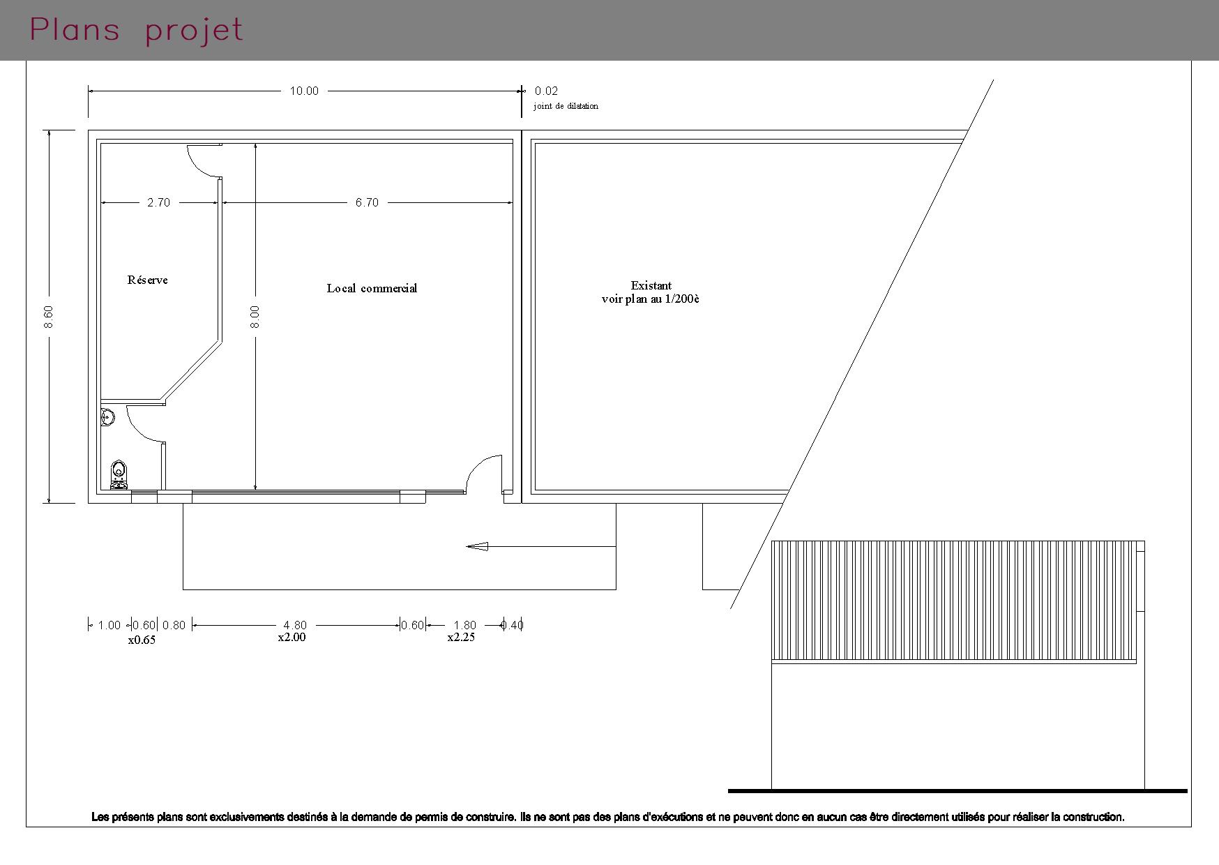 Plans projet d'un espace commercial