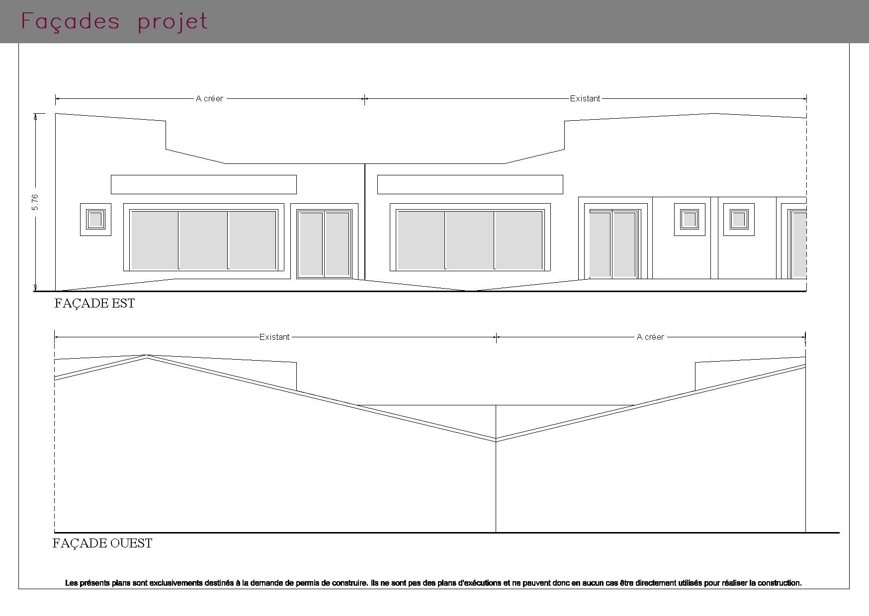 Plans des façades d'une boutique et de son espace privée