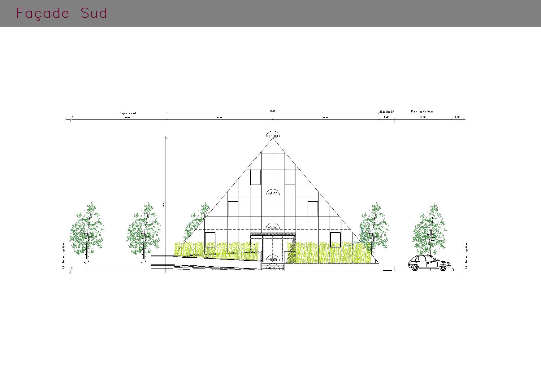 Bureaux pyramide : façade SUD
