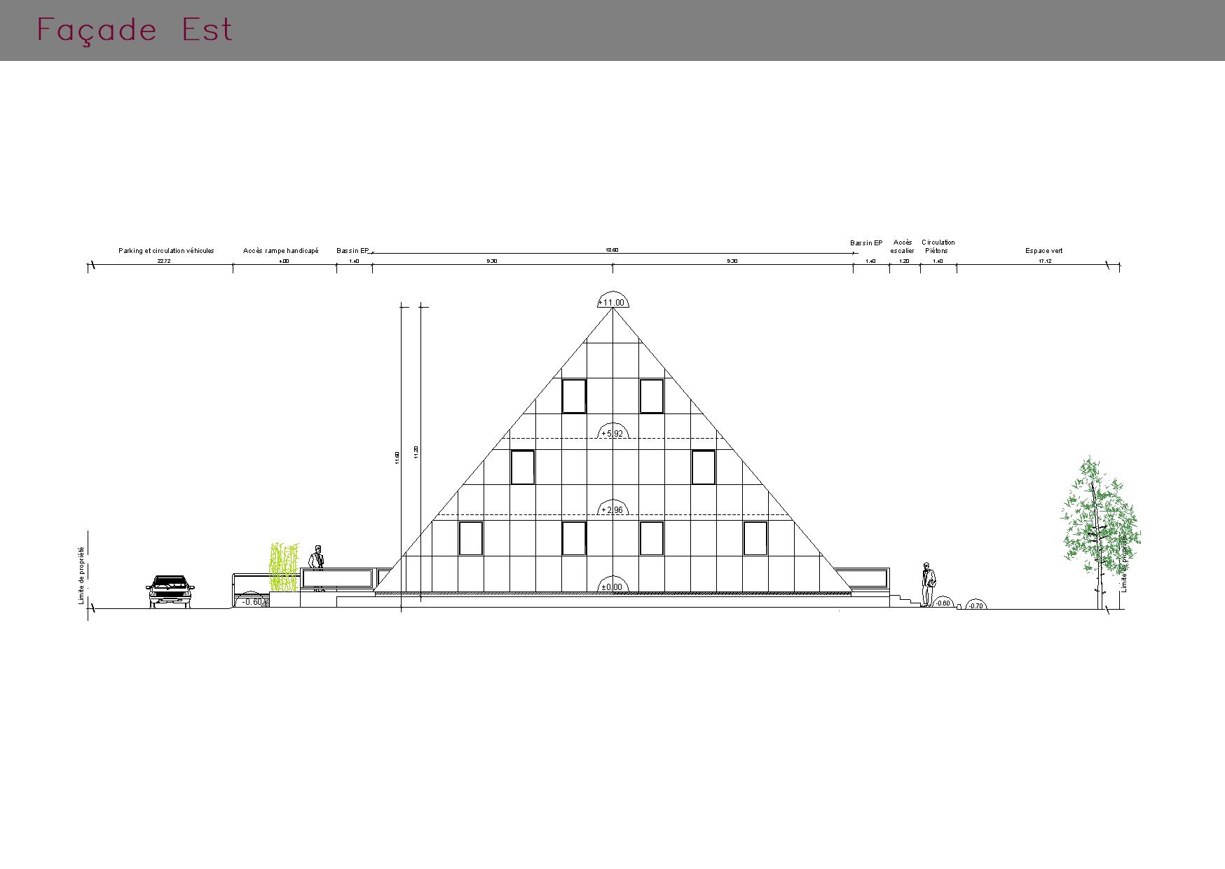 Plan de la façade EST de bureaux