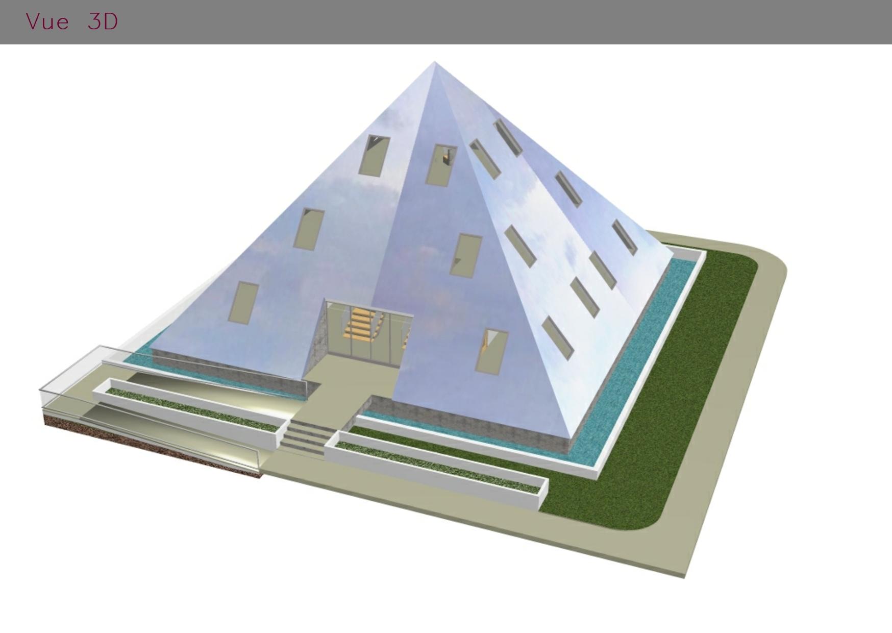 Modélisation en 3D d'un bâtiment en pyramide
