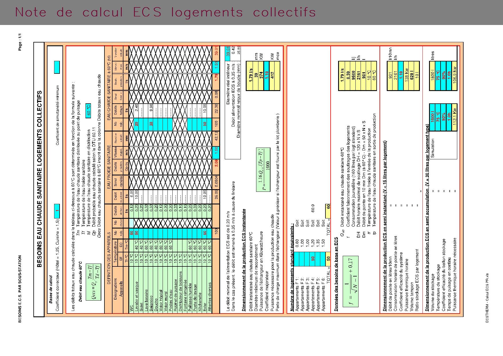 Note de calcul ECS pour logements collectifs