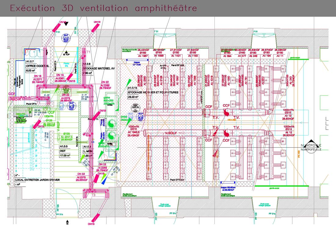 Plan d'exécution en 3D de ventilation d'un amphithéâtre