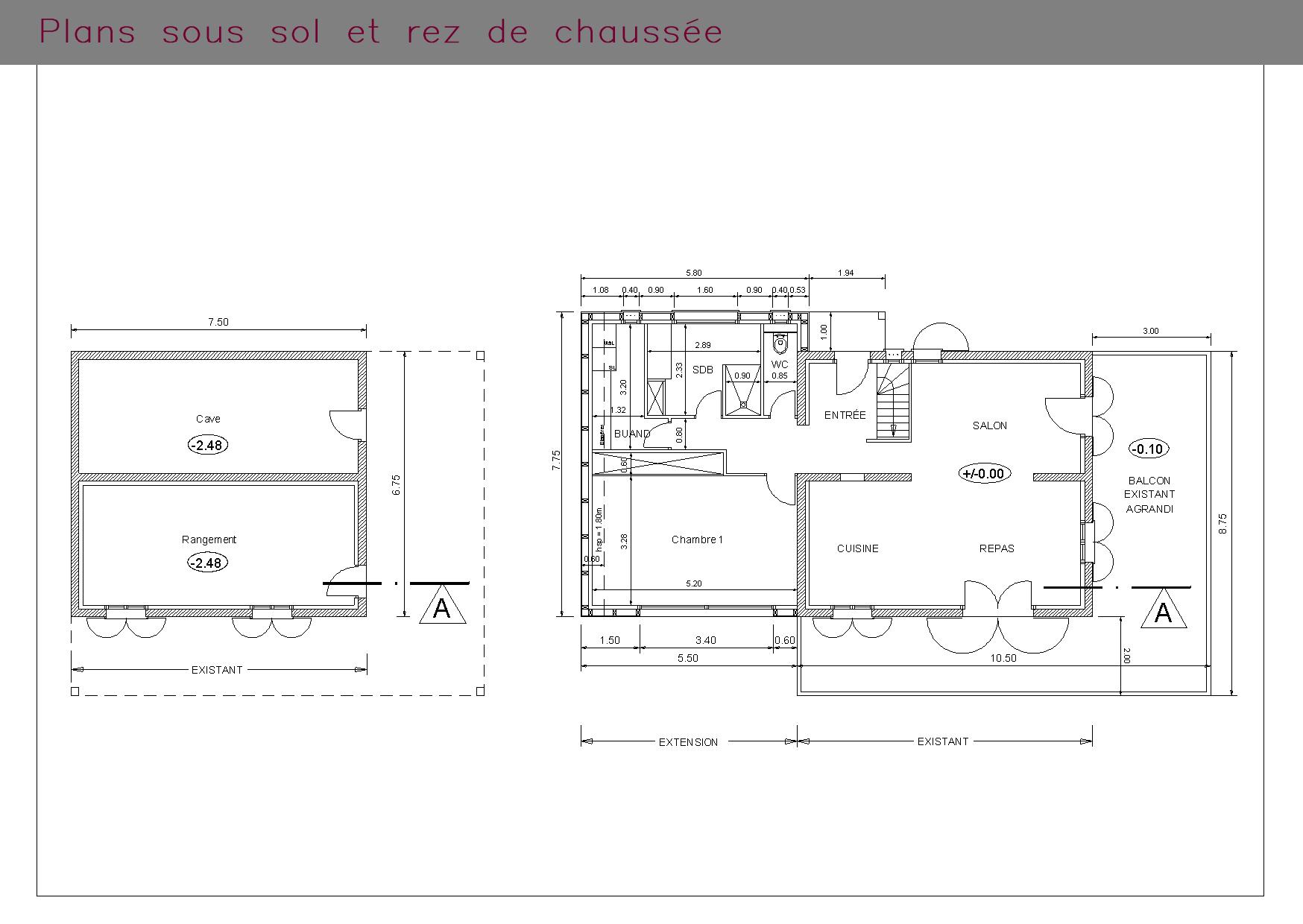 Chalet de montagne : plans sous-sol et rez-de-chaussée