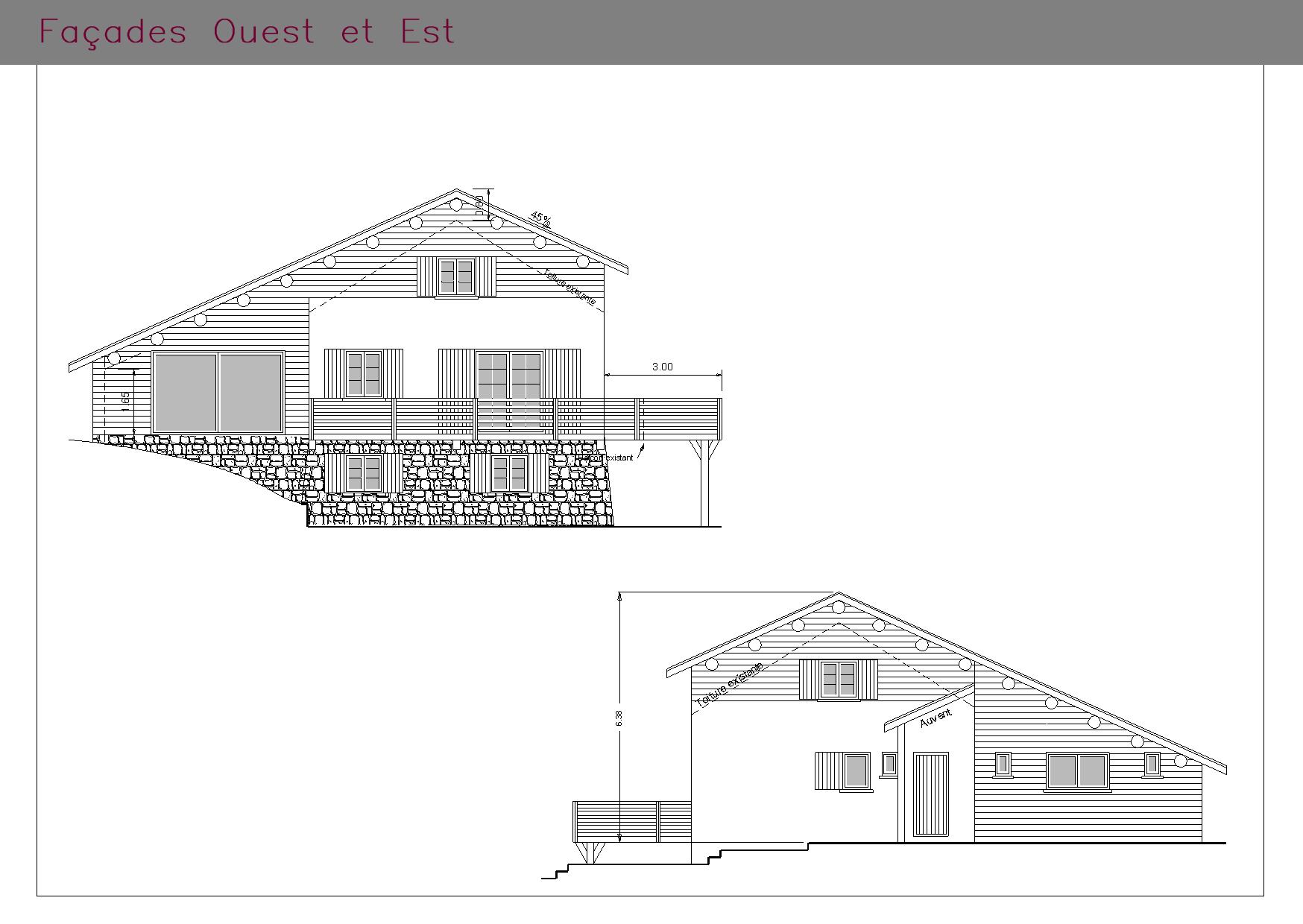 Plans des façades d'une habitation à la montagne