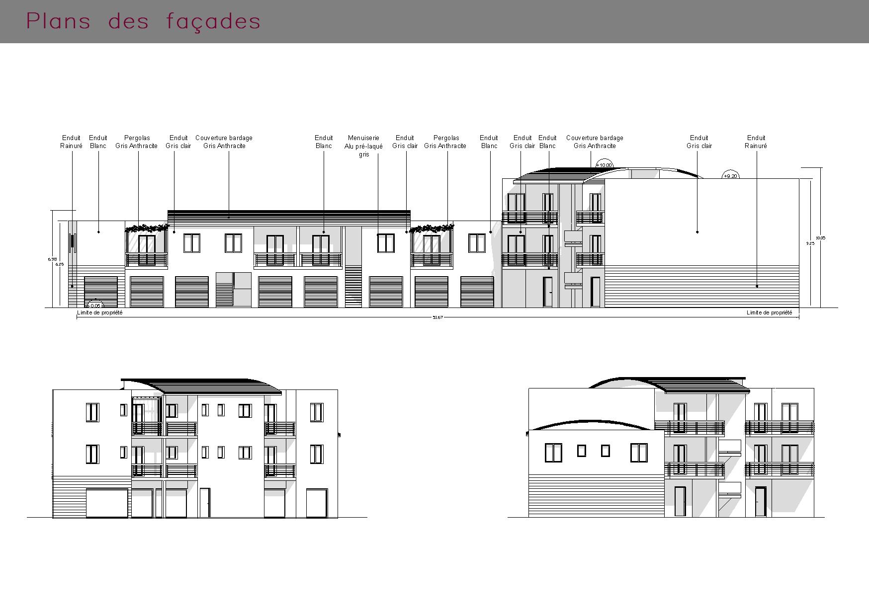 Plans des façades d'un immeuble