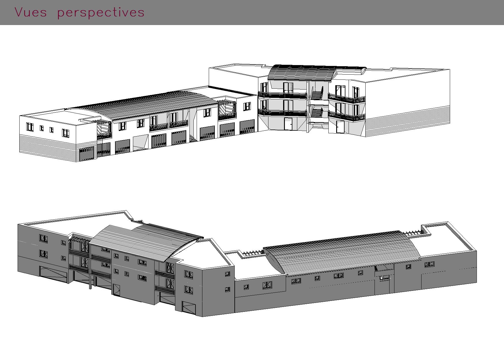 Logements collectifs et commerces : vues du bâtiment