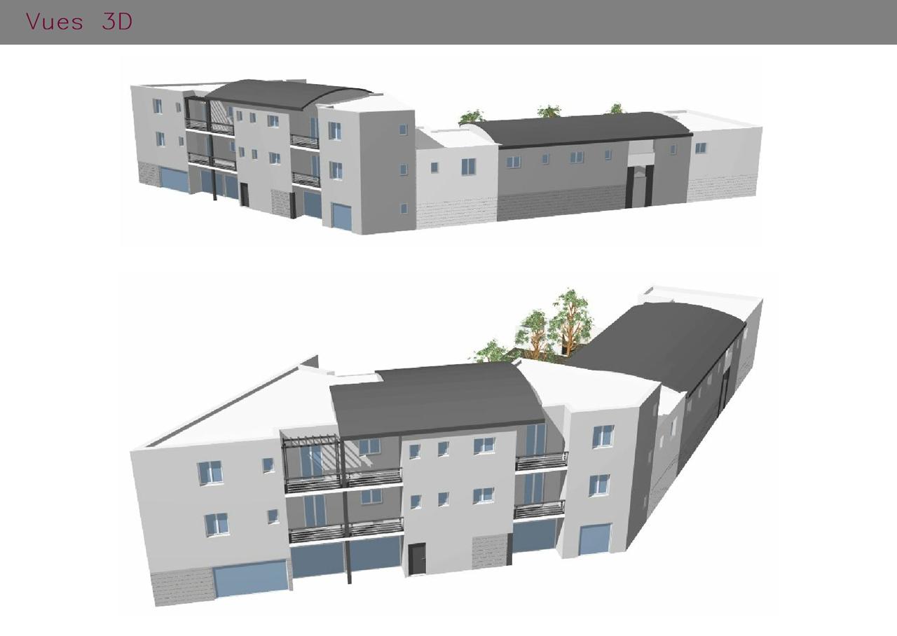 infographie 3 dimensions de logements collectifdsavec commerces