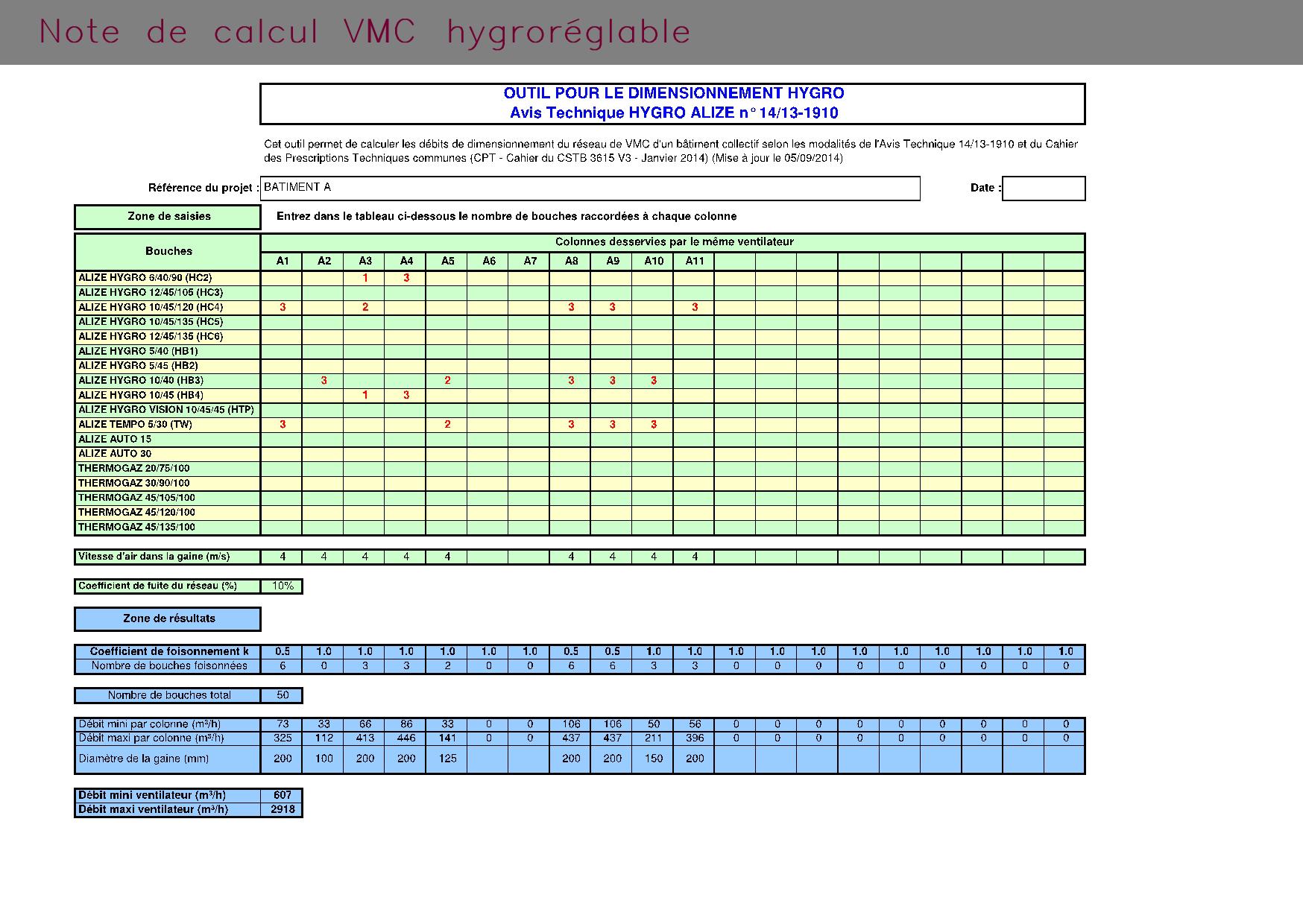 Note de calcul VMC hygroréglable