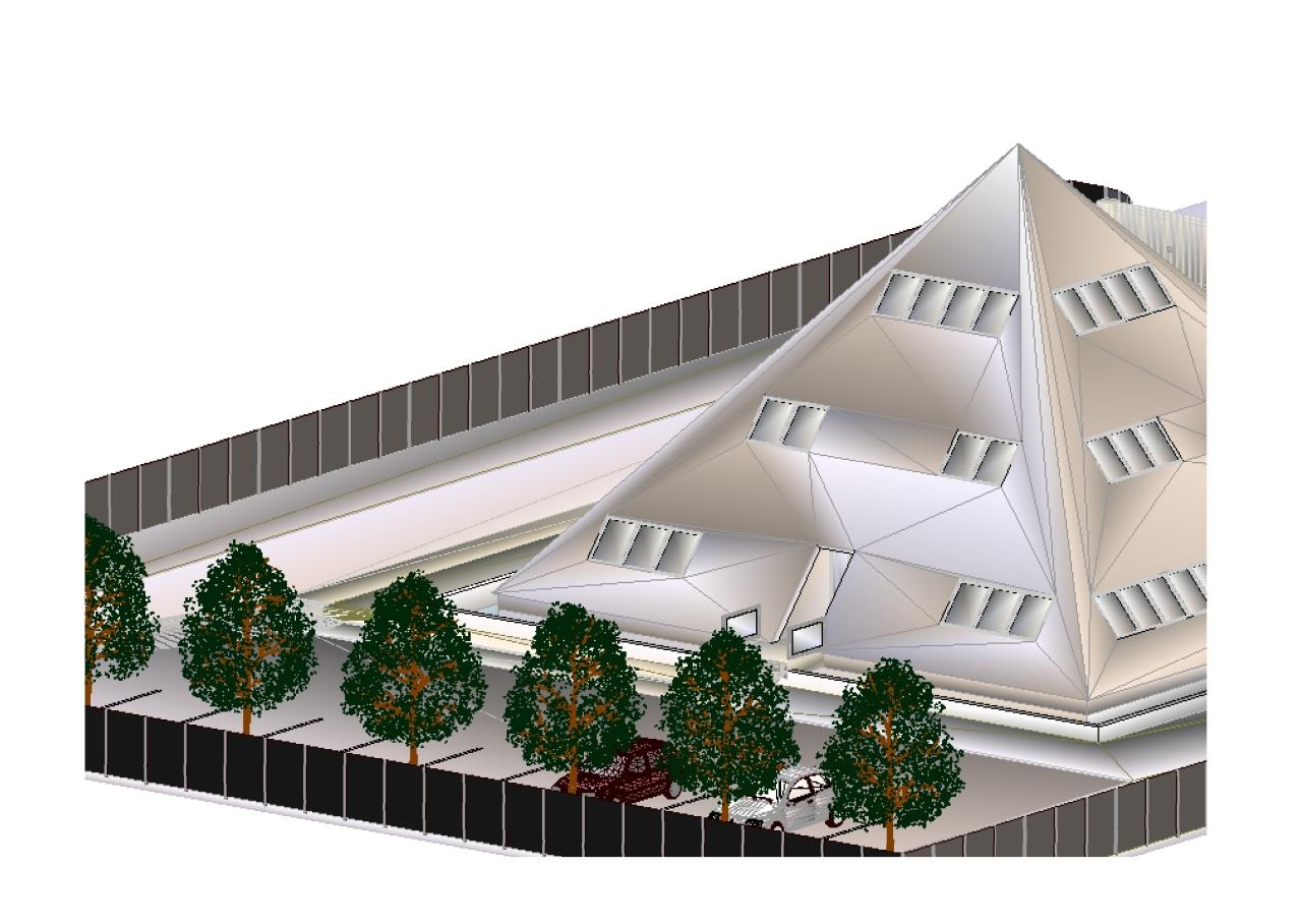 Bureaux pyramide : modélisation en 3D