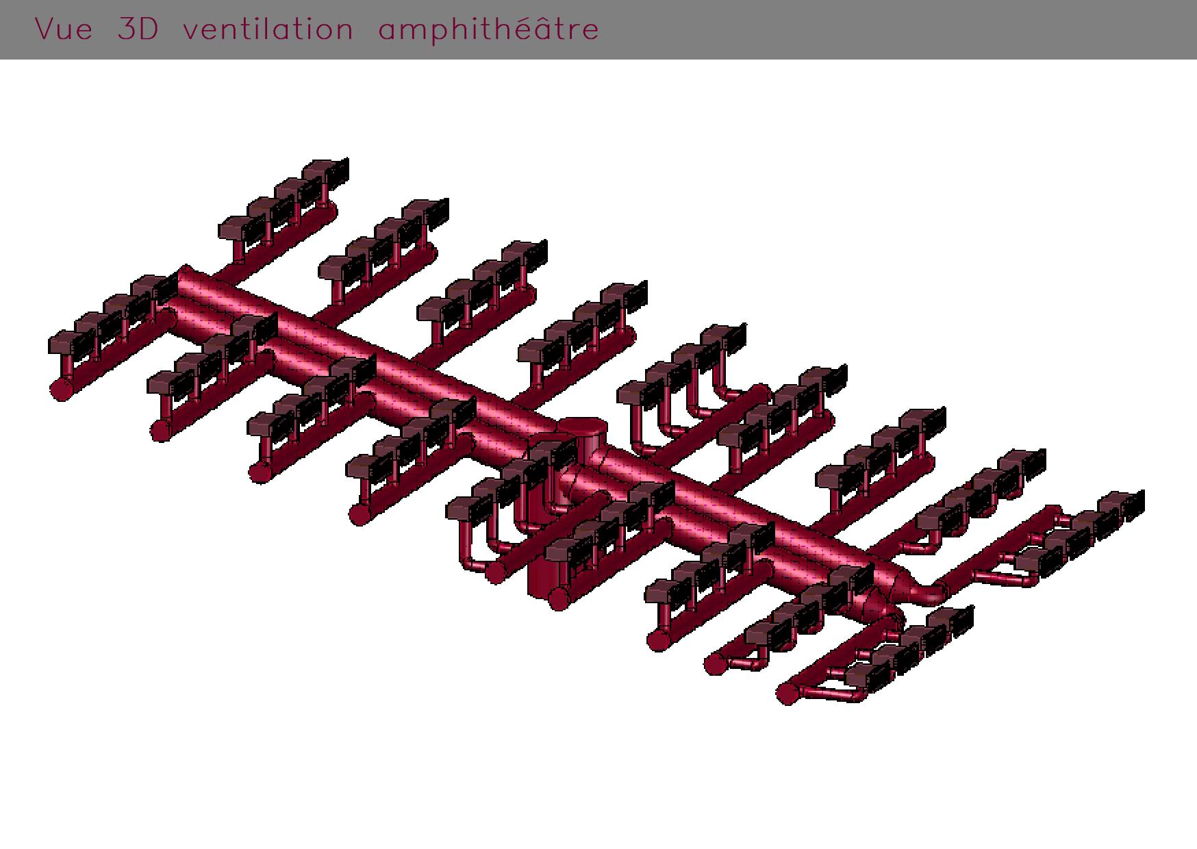 Ventilation amphithéâtre : vue en 3 dimensions