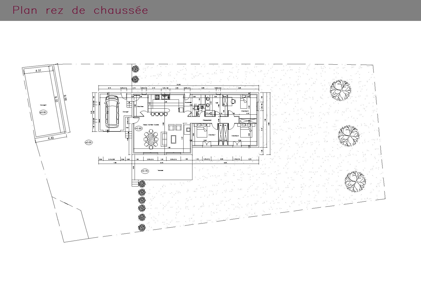Plan du rez-de-chaussée d'une maison individuelle