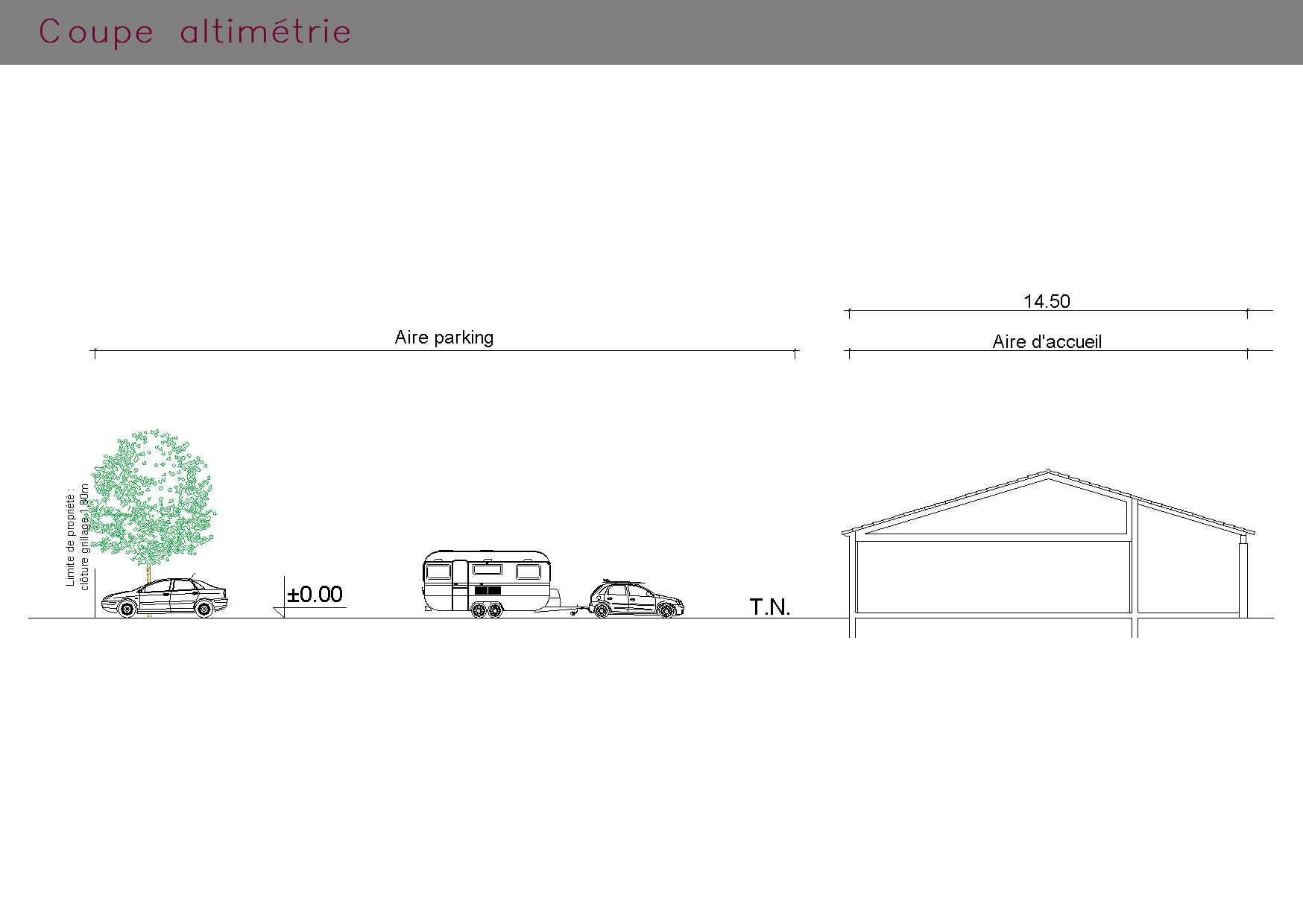 Aire d'accueil et parking : coupe altimétrie