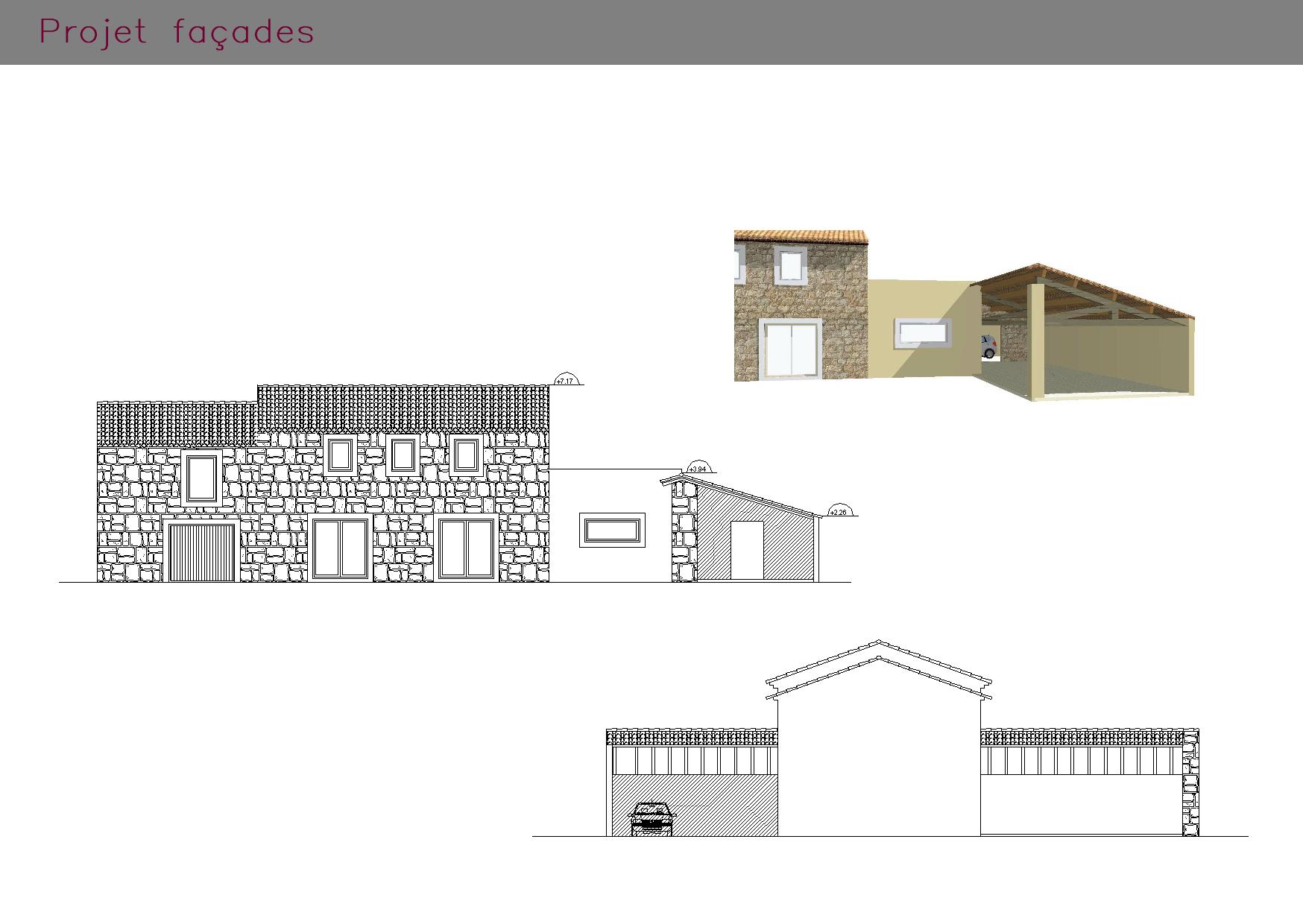 Plans projets : façades d'une ancienne ferme